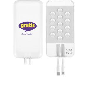 Powerbank 10.000 mAh Batarya: A+ Lithium Polymer Baskı Bölgesi: Ön Yüz UV Baskı Gösterge: Dört Kademeli LED Giriş: DC5V2A (Max) / Micro+ IOS Çıkış: DC5V 2.4A (Max)/ USB Ağırlık: 186 Gram Ölçüler: 142 x 70 x 14.5 mm Materyal: ABS Kablo Dahili IOS / Type-C Kablo ve Micro Kablo Dahili IOS / Type-C Kablo ve Micro Lütfen telefonunuzu kendi orjinal kablosu ile kullanınız Bataryalarımız test edilmiş olup 2 yıl garantilidir.