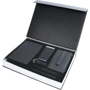 13 x 21 Termo Deri Defter 6.000 mAh Powerbank Deri Cüzdan Metal ve Roller Tükenmez Kalem Anahtarlık Özel Kutu Kutu Boyutu: 38x28x5,5 cm