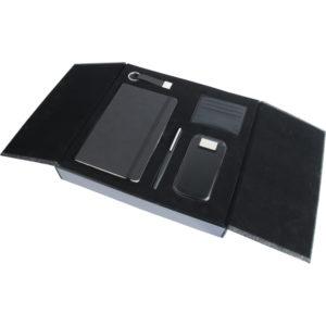 13 x 21 cm Termo Deri Defter 10.000 mAh Powebank Anahtarlık Deri Cüzdan Kartlık Metal Roller ve Tükenmez Kalem Özel Kutu Kutu Boyutu: 34 x 30.5 x 5.5 cm