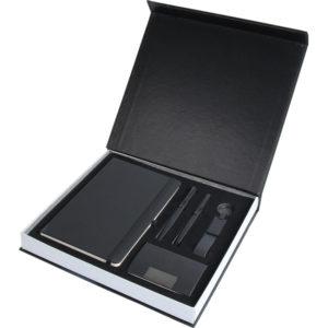 13 x 21 cm Termo Deri Defter Anahtarlık Metal Roller ve Tükenmez Kalem Kartvizitlik Özel Kutu Kutu Boyutu: 28.5 x 26 x 3.5 cm