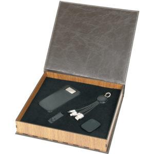 5.000 mAh Powerbank Kablo Set Işıklı Telefon Tutucu 16 GB USB Bellek Ahşap Özel Kutu Kutu Boyutu: 27.5 x 25 x 5.5 cm