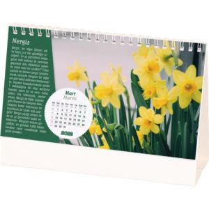 Çiçek Desen Masa Takvimi Yaprak Ebat : 20 x 11 cm Yaprak Kağıt : 170 gr. Parlak Kuşe Taşıyıcı Ebat : 20 x 14 cm Taşıyıcı Türü :400gr. A. Bristol, Reklam Alanı: 19 x 2,5 cm
